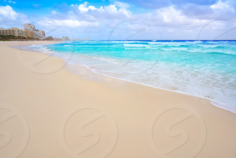 Cancun caribbean white sand beach in Mayan Riviera of Mexico photo