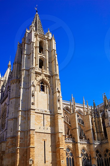 Cathedral of Leon side facade in Castilla at Spain photo