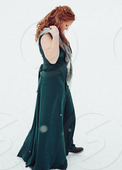 Snow candid green red woman redhead wedding formal dress braid hairstyles scarf photo