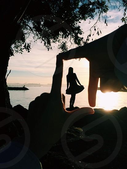 woman near beach photo photo