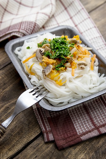 Chinese mix vegetables and rice noodles photo