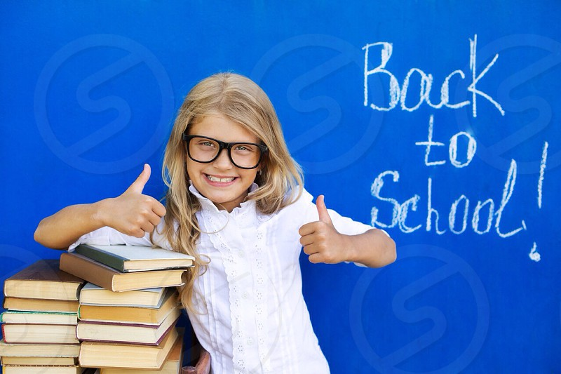 School back girl love joy happy life sweet real books education kid child  photo