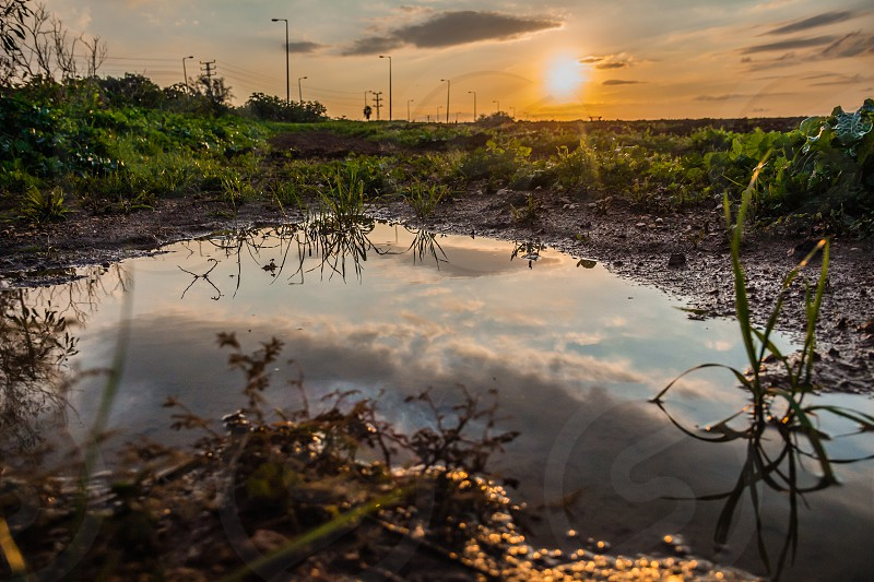 Sky reflected in a puddle of water in a field at sunset. photo