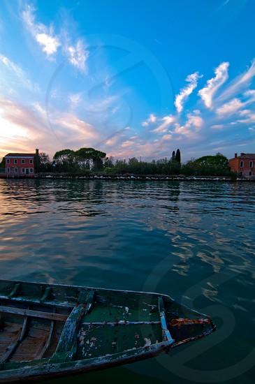 beautiful sunset on Italy Venice Burano island  photo