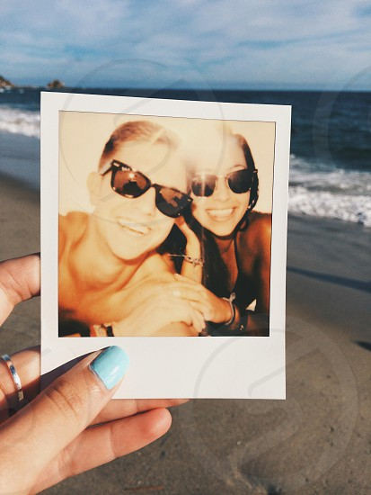 Polaroid selfie at the beach  photo