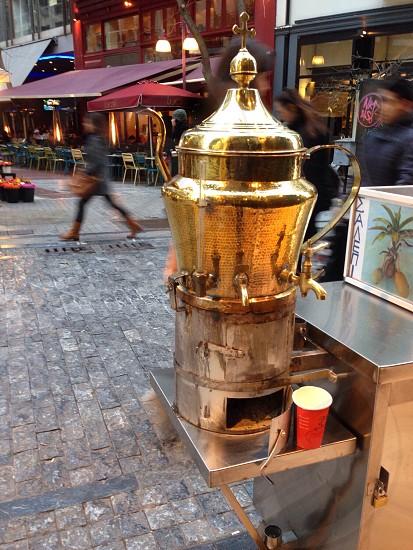 Coffee al fresco copper pot street vendor fresh photo