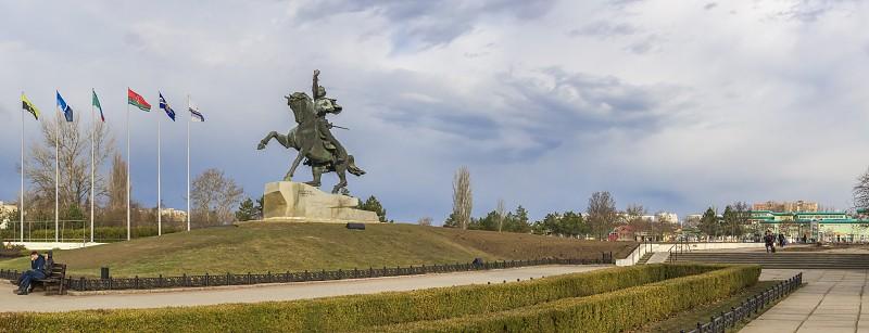 Tiraspol Moldova - 03.10.2019. Equestrian statue to the russian commander Alexander Suvorov near the Dniester River in the city of Tiraspol Transnistria Moldova photo