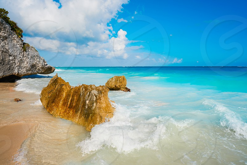 Tulum beach in Riviera Maya at the Caribbean of Mayan Mexico photo