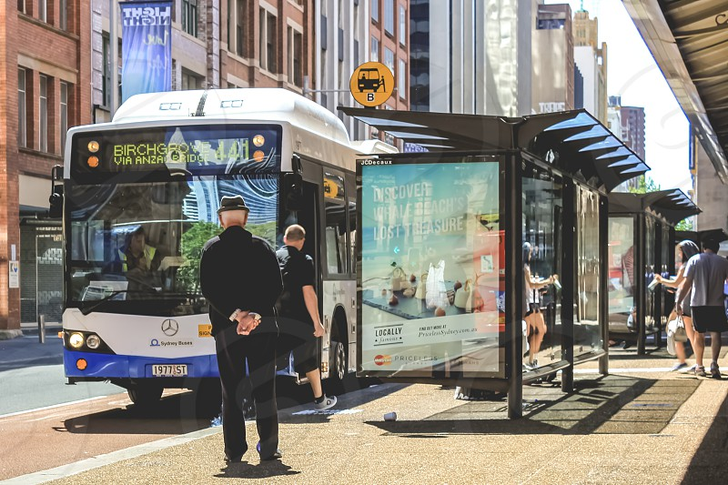 bus stop - streets of Sydney Australia photo