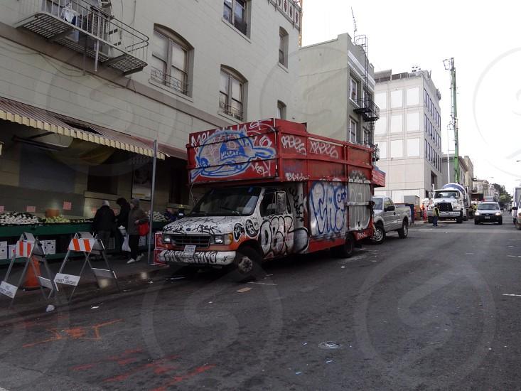 truck covered in grafitti photo