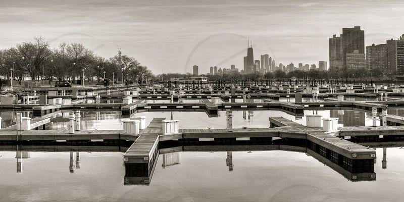 Empty Docks at Belmont Bay Chicago photo
