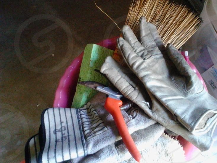 gloves in a bucket photo