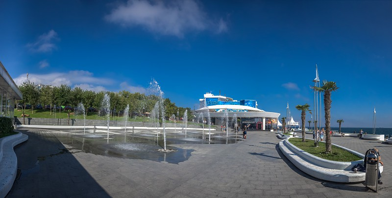 Odessa Ukraine - 09.12.2018. Odessa Dolphinarium outside panoramic view in a sunny summer day. photo