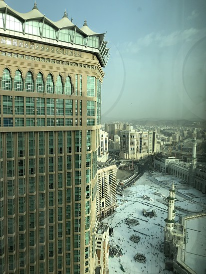 Mecca Makkah. Saudi Arabia. Unique view of the square with the Al Haram mosque from above. Photo taken on 04.28.2019. photo