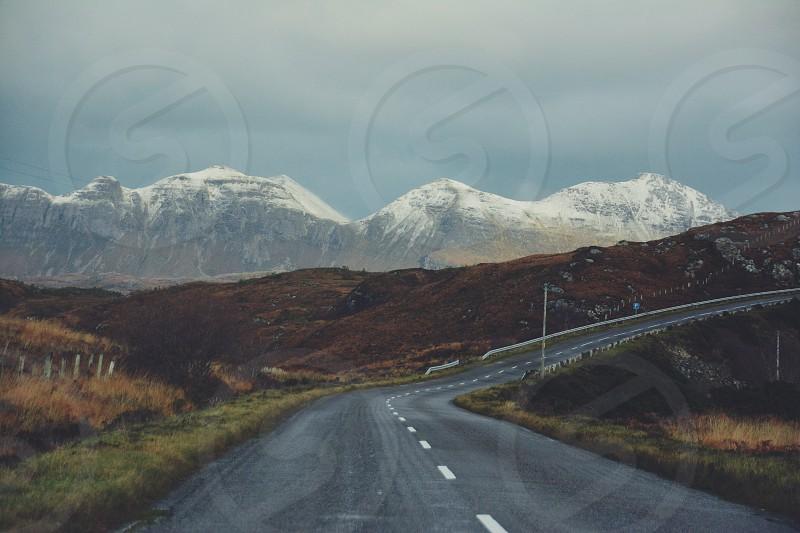 Snow winter autumn mountain road road trip driving highlands scotland photo