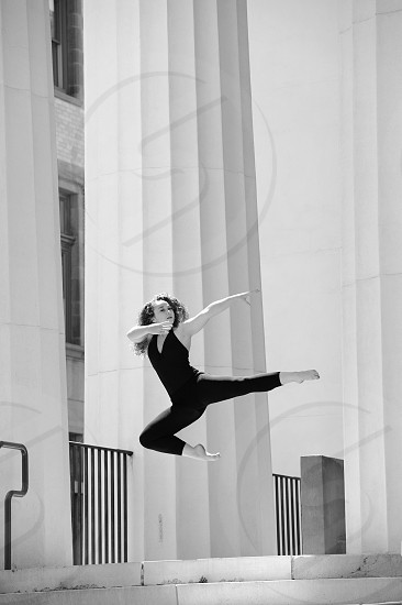 Beauty in Exercise and dancer leaps to keep in shape. photo