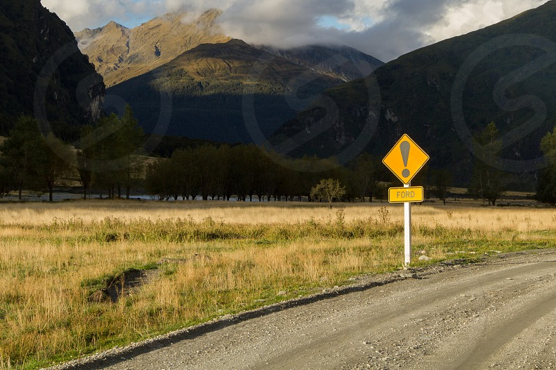 Road sign signaling a ford crossing in New Zealand photo