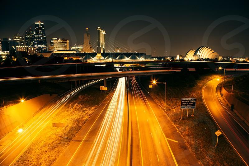 night view of city roads photo