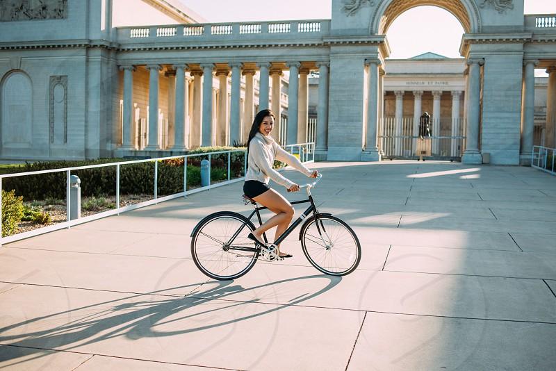 woman riding mountain bike photo