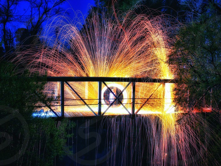 Steel Wool Long Exposure San Jose Bridge Sparks Nightshot photo