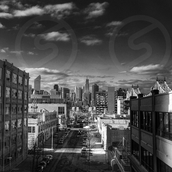black and white picture of city photo