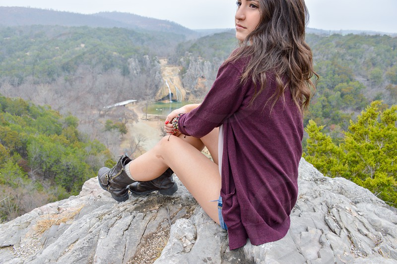 Waterfall in the background at Turner Falls Park Oklahoma photo