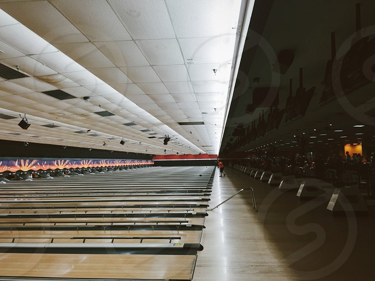 Bowling bowling alley bowling lane symmetry indoor indoor interior photo