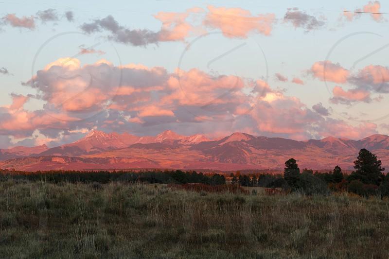 Sunset over the La Plata Mountains near Cortez Colroado photo