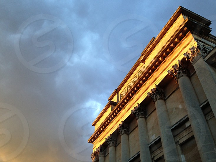 Sunset over a building in Clifton Bristol UK photo