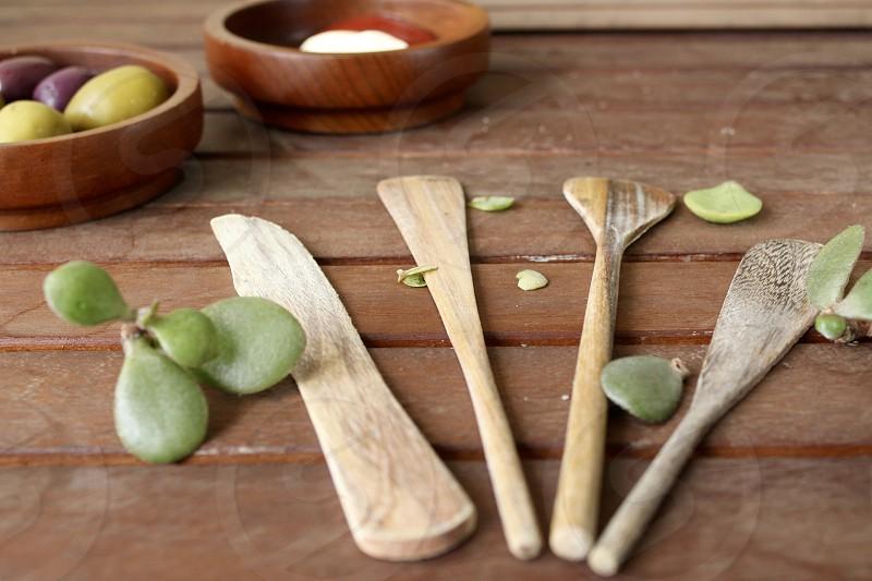 Woodden appetizer utensils photo