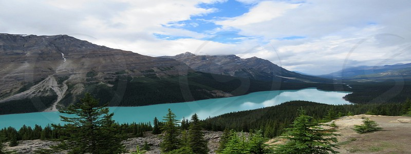 turquoise waters lake mountains trees blue sky  Peyto Lake Banff National Park Canada adventure outdoors photo