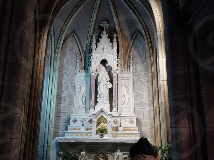 A beautiful statue of the Blessed Virgin Mary. photo