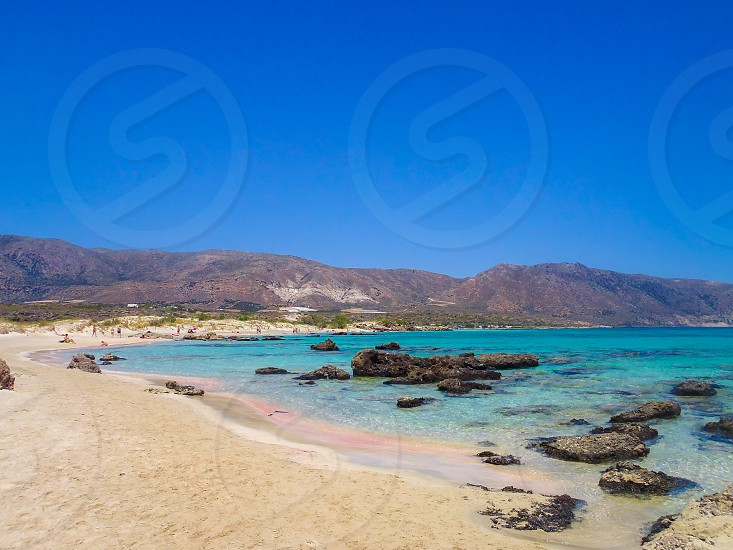 Elafonisi beach with the pink sand in Crete Greece  photo