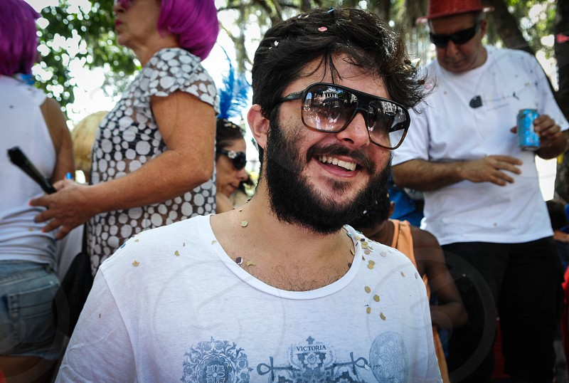 RIO CARNAVAL SUVACO DO CRISTO COLORS HAPPINESS PARTY STREET PARTY COSTUMES GUY SHADES BEAR photo