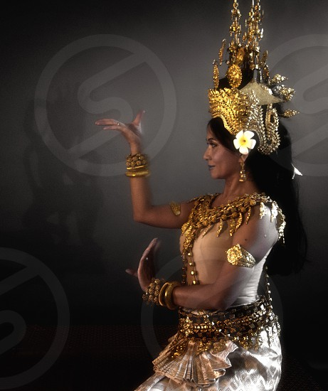 Cambodian Apsara dancing with shadow photo