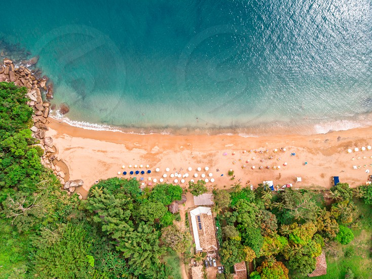 Aerial view of a summer day at Ilha Bela Brazil. Shots taken with a drone photo