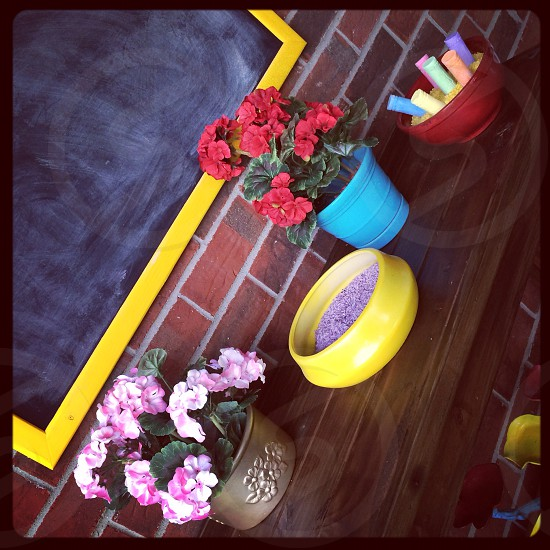 Chalkboard; pink; yellow; flowers; chalk; lavender rice; brick wall; wood table; red; blue photo