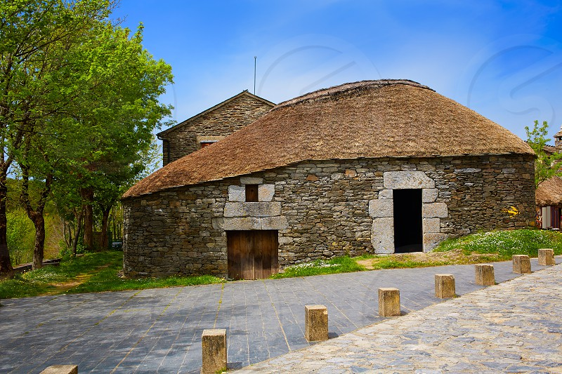 O Cebreiro by the way of Saint James in Galicia Palloza traditional celtic hut photo