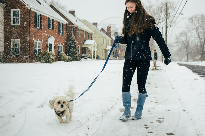A girl walks her dog outside on a snowy day. photo