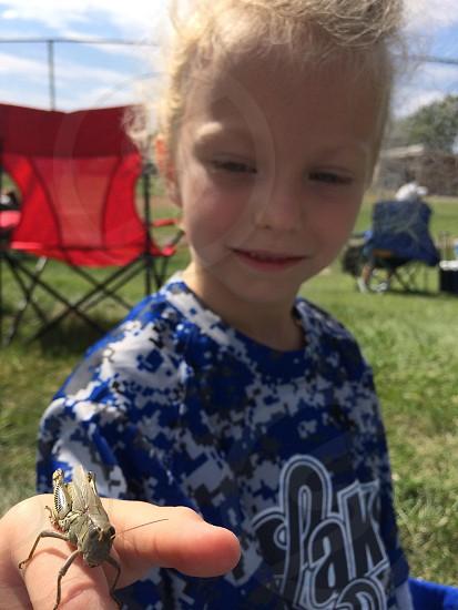 green katydid on girl's hand photo