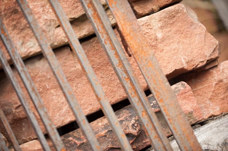 Still life Rust Iron Stone Architectural Salvage Construction Materials photo