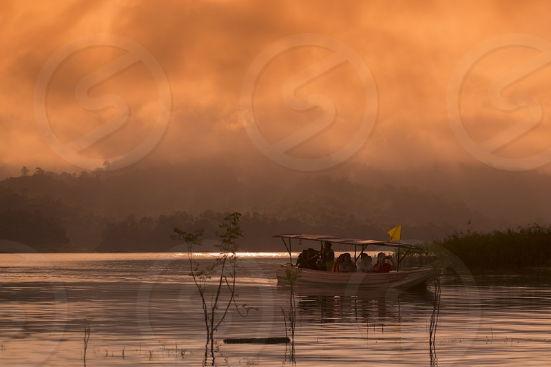 the landscape at the Khao Laem Lake near the Village of Sangkhlaburi north of the City of Kanchanaburi in Central Thailand in Southeastasia.   photo