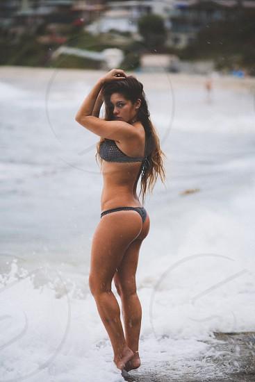 woman in to piece bikini photo