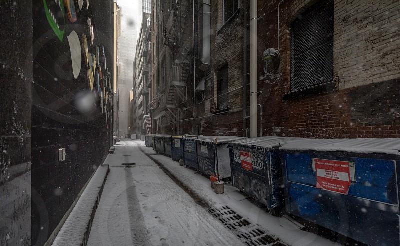 Denver downtown during a snow blizzard photo