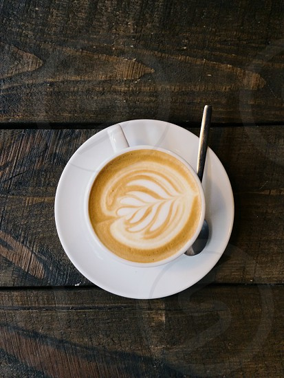 Cup of coffee shot from above / Capuccino photo