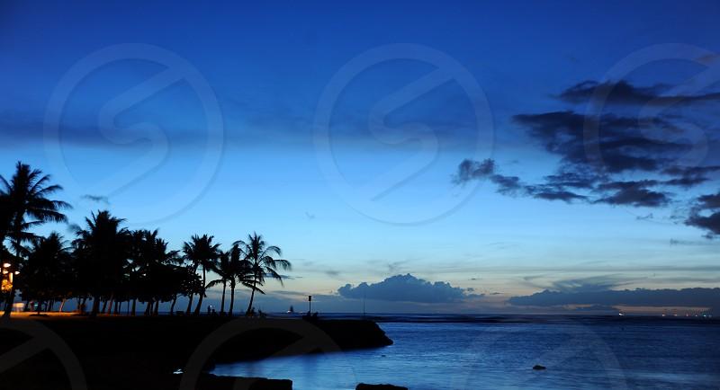 Waikiki Honolulu Hawaii Magic Island Night Sky Beach Ocean Palm Trees Sky Line  photo