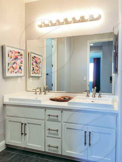 Bright white bathroom vanity photo