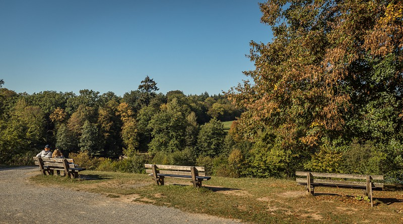 Park benches with a nice view around the Bärenschlössle (bear palace) Stuttgart Germany photo