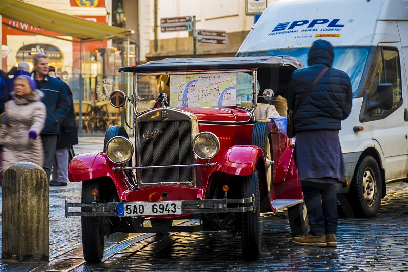 Photo from old car in centre of Prague photo