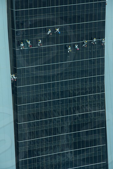 Window cleaners at 40 stories. photo